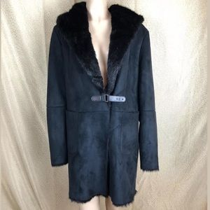 Lauren Ralph Lauren Black Faux Fur Shearling Coat